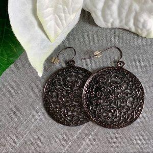 Jewelry - Gunmetal Floral Mandala Earrings